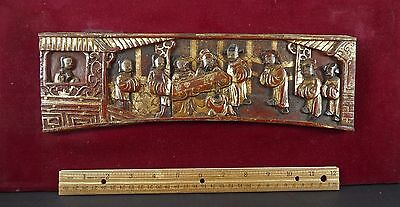Antique Chinese Carved Red Gilt Painted Framed Wood Panel Tea Ceremony 敬茶礼仪  13""