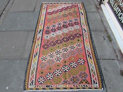 Old Traditional Hand Made Persian Oriental Wool Pink Blue Long Kilim 197x100cm