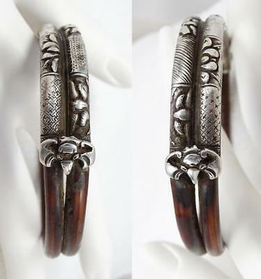 Antique Chinese Silver & Rattan Double Band Bats Bangle Bracelet Bamboo