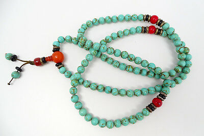 """Antique Chinese Turquoise & Amber Bead 36"""" Necklace 88.3g"""