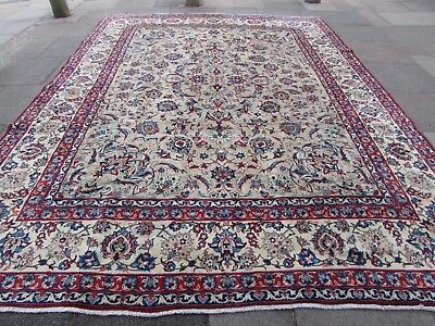Old Hand Made Traditional Persian Rug Oriental Wool Beige Large Carpet 394x293cm