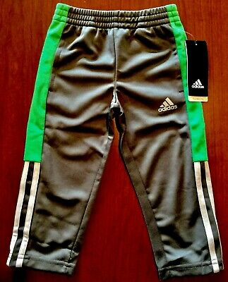 Nwt Adidas Climalite Boys Toddlers Gray & Green Athletic Pants Size 2T ~Msrp $34