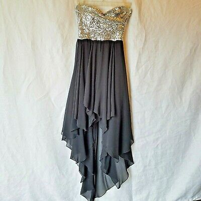 32f8eb6293d8 B. Darlin Junior Silver Sequin Strapless Black Dress S 1/2 Special Occasion  Prom
