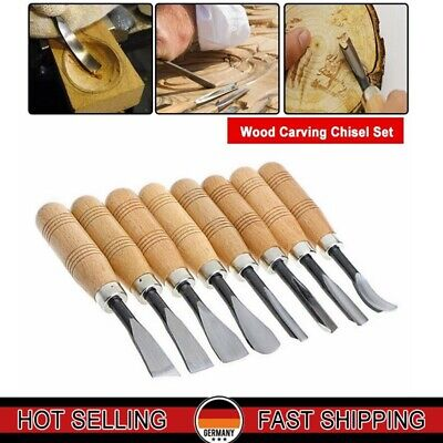8pcs Wood Carving Chisel Set Professional Sculpture Woodworking Crafting Tool**