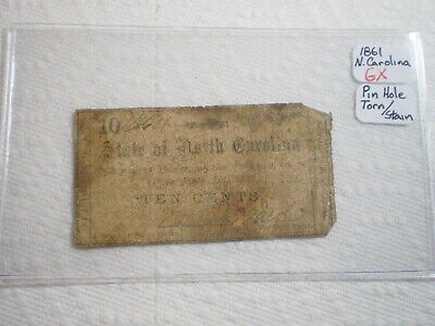 1861 10 Cent Fractional Confederate Currency Note North Carolina/ Tattered