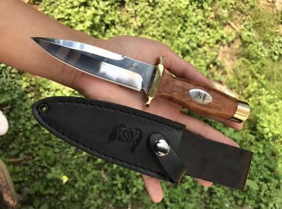 "8 "" New Wood Handle Mirror Light  440A Blade Survival Bowie Hunting Knife VTH115"