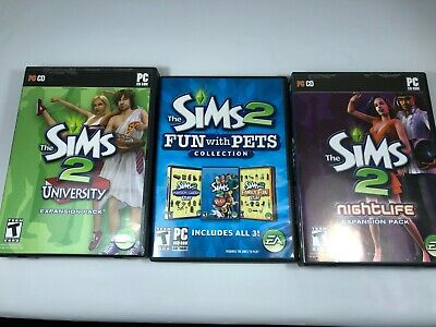 The Sims 2 NIGHTLIFE  UNIVERSITY  FUN WITH PETS Games Lot Windows PC Expansions