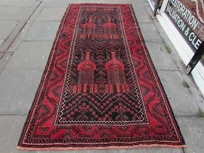 Old Hand Made Traditional Persian Rug Oriental Wool Red Large Long Rug 288x135cm
