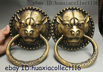 Chinese Fengshui Bronze Auspicious Foo Dog Lion Head Door Knocker Statue Pair