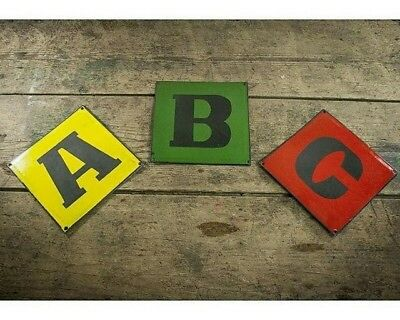 Vintage Industrial Enamel A, B, C Signs In Red, Green & Yellow.