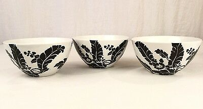 3 Roscher Ambiance Collection Deep Bowls Tropical Leaf Pattern White & Black