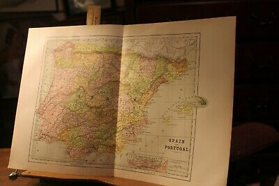 Antique 1895 Map Spain and Portugal