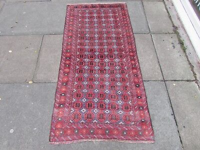 Old Hand Made Traditional Persian Rug Oriental Wool Red Blue Rug Runner 150x76cm