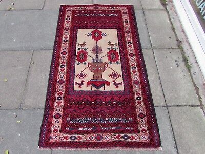Old Hand Made Traditional Persian Rug Oriental Wool Red Blue Rug Runner 158x88cm