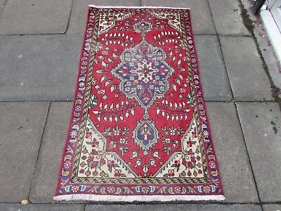 Shabby Chic Old Traditional Hand Made Persian Oriental Red Wool Rug 147x84cm