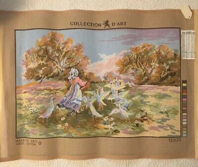 "Collection d'Art Needlepoint Hand painted Canvas 15"" x 23"" 12923 Girl With Geese"