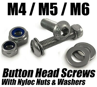 M4 M5 M6 A2 Button Head Screws + Nyloc Nuts Washers Stainless Steel Socket Bolts