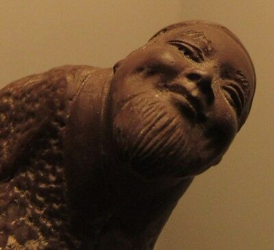 Vintage Chinese terracotta brown clay scholar figure detailed hand formed