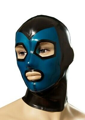 Sexy Latex Unisex Mask with Black Trim for Catsuit Cosplay Party Wear