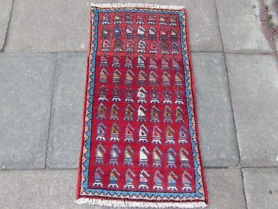 Old Hand Made Traditional Persian Rug Oriental Wool Red Small Rug 105x55cm