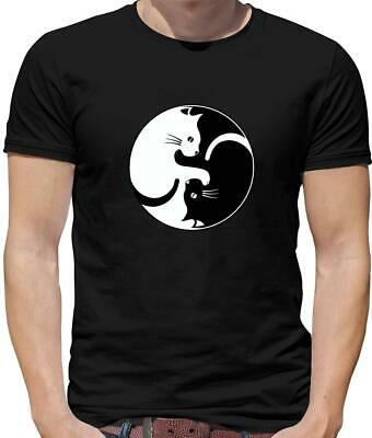 Yin Yang Cat Mens T-Shirt - Kitten - Pussy Cat - Spiritual - Pet - Yin and Yang