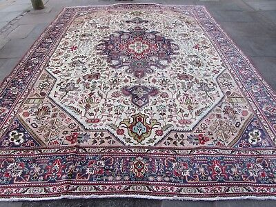 Old Hand Made Traditional Persian Oriental White Wool Large Carpet 386x294cm
