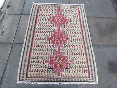 Old Traditional Hand Made Persian Oriental Wool Red Beige Kilim Rug 142x100cm