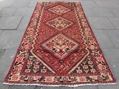 Old Hand Made Traditional Persian Rug Oriental Rug Wool Red Pink Rug 290x159cm