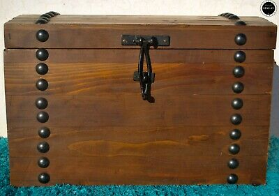 Antique Vintage French Large Dome Top Steamer Oak Travelling STORAGE CHEST