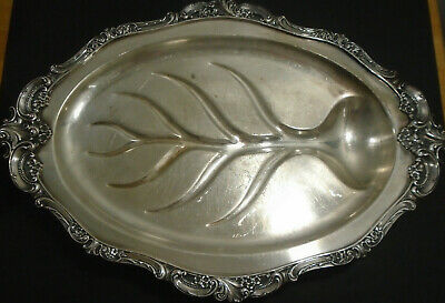 "Vintage Wallace Silver Plate Baroque 19"" 4 Footed Meat Platter With Well"