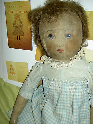 """ANTIQUE 1904, very large hand painted cloth, """"Babyland Rag"""" doll, all original"""
