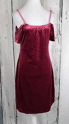 Planet Gold Velvet Cold-Shoulder Dress Sheath Bodycon Figure-Flaunting Red S