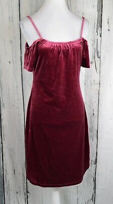 Planet Gold Velvet Cold-Shoulder Dress Sheath Bodycon Figure-Flaunting Red XL
