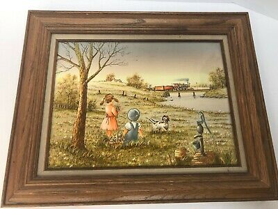 Vintage C. Carson Art Oil Painting Serigraph on Canvas SignedAuthenticated