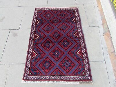 Old Traditional Hand Made Afghan Oriental Red Wool Rug Carpet 134x86cm
