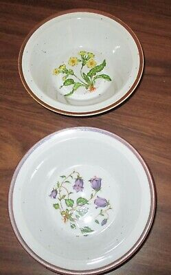 Hearthside Buffet Ware Lot Of 2 Soup Cereal Bowls Yellow & Purple Flower