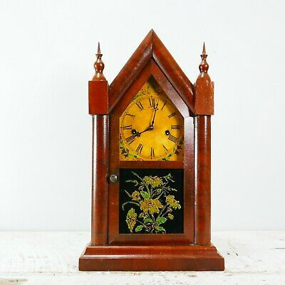 Antique Ancient Gothic Style Waterbury Mantel Clock Circa 1800's