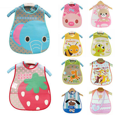 Baby Kids Toddler Waterproof Feeding Bibs Toddler Food Catcher Saliva Apron Cute