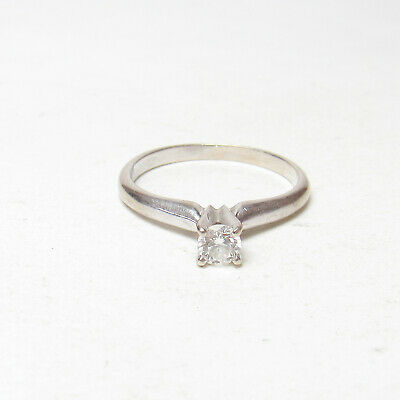 Estate 14K White Gold 0.19 Ct Round Brilliant Cut Diamond Solitaire Ring