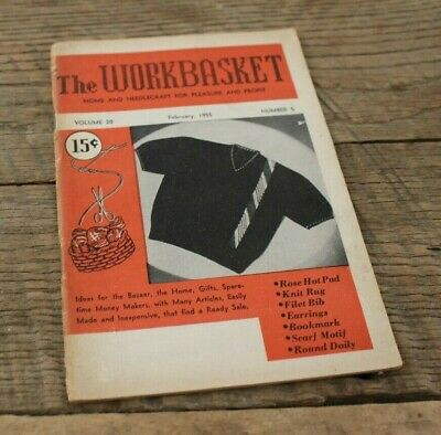 Vintage Booklet Magazine Workbasket Home Needlecraft Volume 20 February 1955 #5