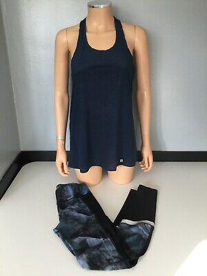 Swetty Betty Womens Gym 2 Piece Set Outfit Navy Blue Top Leggings Size Small