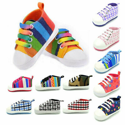 Newborn First Walker Baby Boy Girl Prewalker Moccasins Soft Canvas Shoes Infant