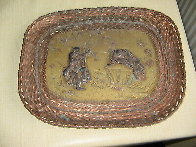 "Antique Chinese ""battling Immortals"" Brass & Copper Woven Tray - Rare"