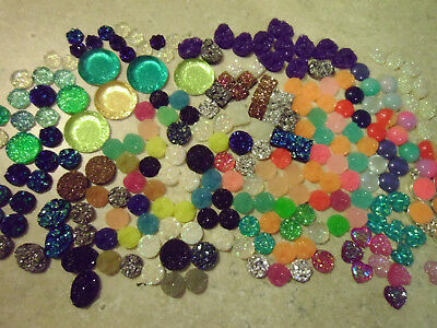 Lot of 200+ Resin Cabochons, Round, Square, Hearts, Druzy, Smooth, Flat Backed
