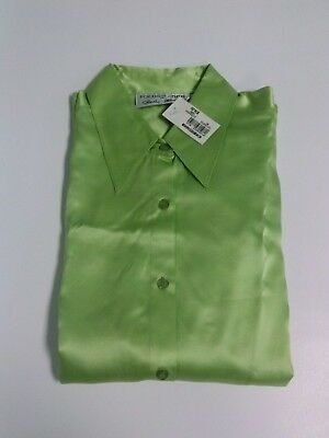 c380692d61792 New 100% Silk Beautiful Green Womens Size 6 Button Up Long Sleeve Blouse NWT