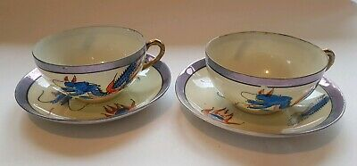 2 x Cup & Saucer Hand Painted Dragon Moriage - Japan China - Vintage