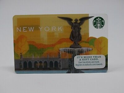 """2015 """"Central Park Fountain"""" Starbucks Card - New & Never Swiped - Pin Intact"""