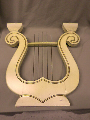 "2124D Vtg Pelham Shell & Leckie Table Part Wood Lyre 18""x19"" Ivory & Gold Wood"
