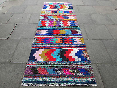 Old Traditional Hand Made Persian Oriental Kilim Wool Cotton Colourful 198x110m