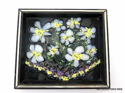 Vintage Hand Painted Folk Art Enamel On Copper Picture White & Yellow Flowers